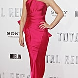Kate Beckinsale hit the Dublin premiere in a striking hot-pink Donna Karan creation from the designer's Resort 2013 collection. The dress highlighted Kate's svelte form with a cool structural elegance.
