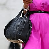 This studded Alexander Wang Rocco bag was the cool-girl counterpart to a breezy hot-pink dress. Source: Greg Kessler