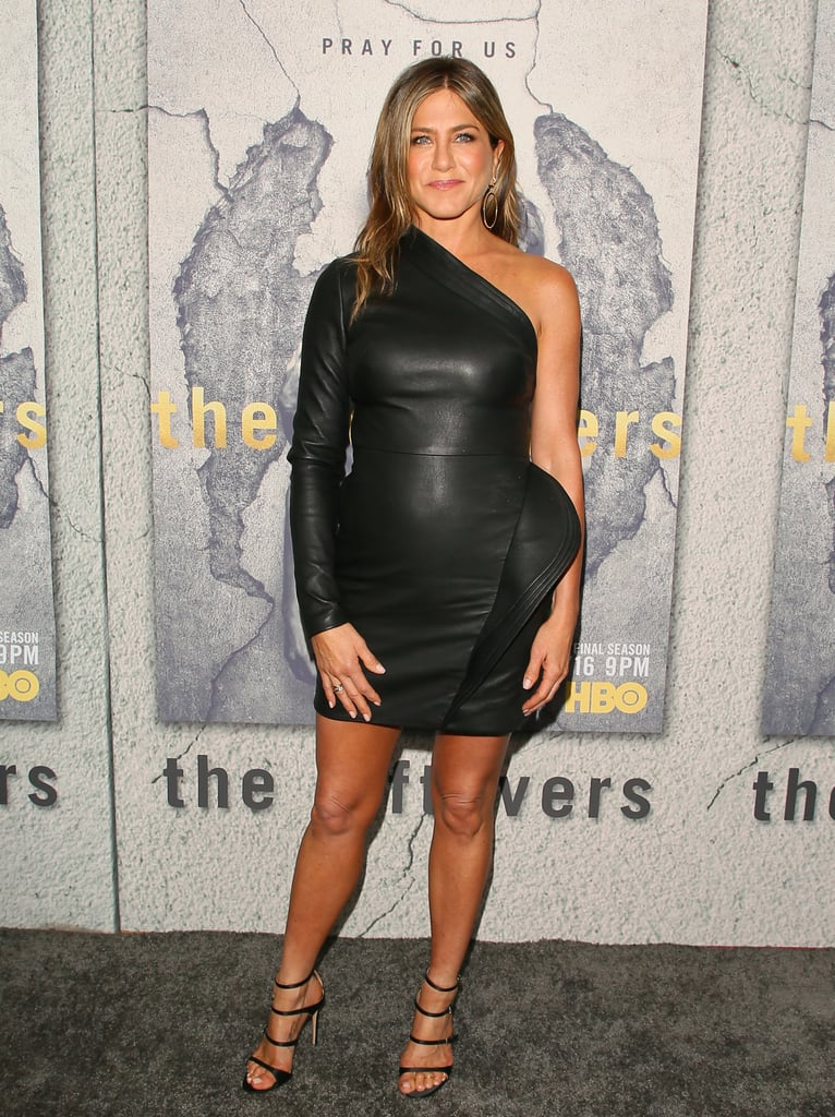 Jennifer Aniston in a 1-Shouldered Leather Dress by Brandon Maxwell and Gianvito Rossi Heels