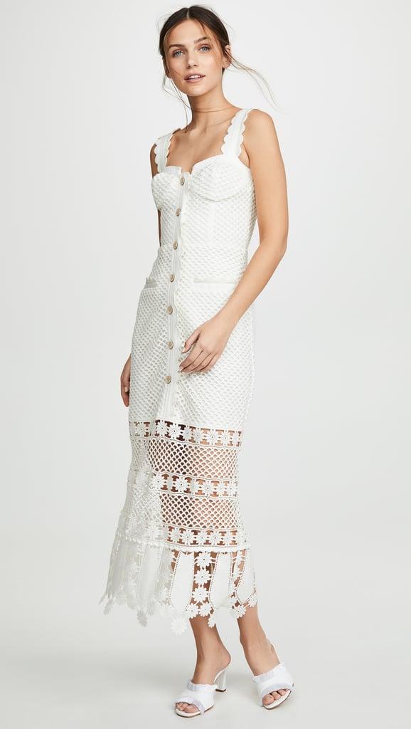 Self Portrait Fishnet Crochet Lace Midi Dress