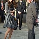 Prince Charles and Kate shared a smile but stood apart in 2012.
