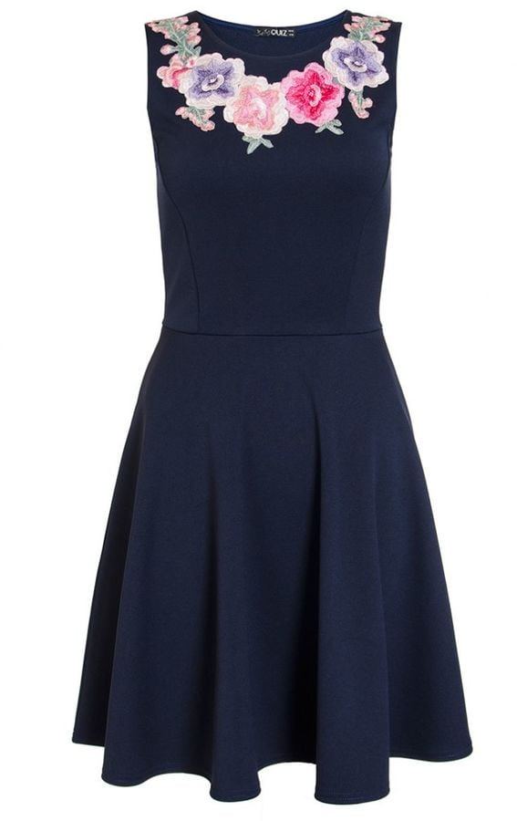 Quiz Navy Embroidered Flower Skater Dress