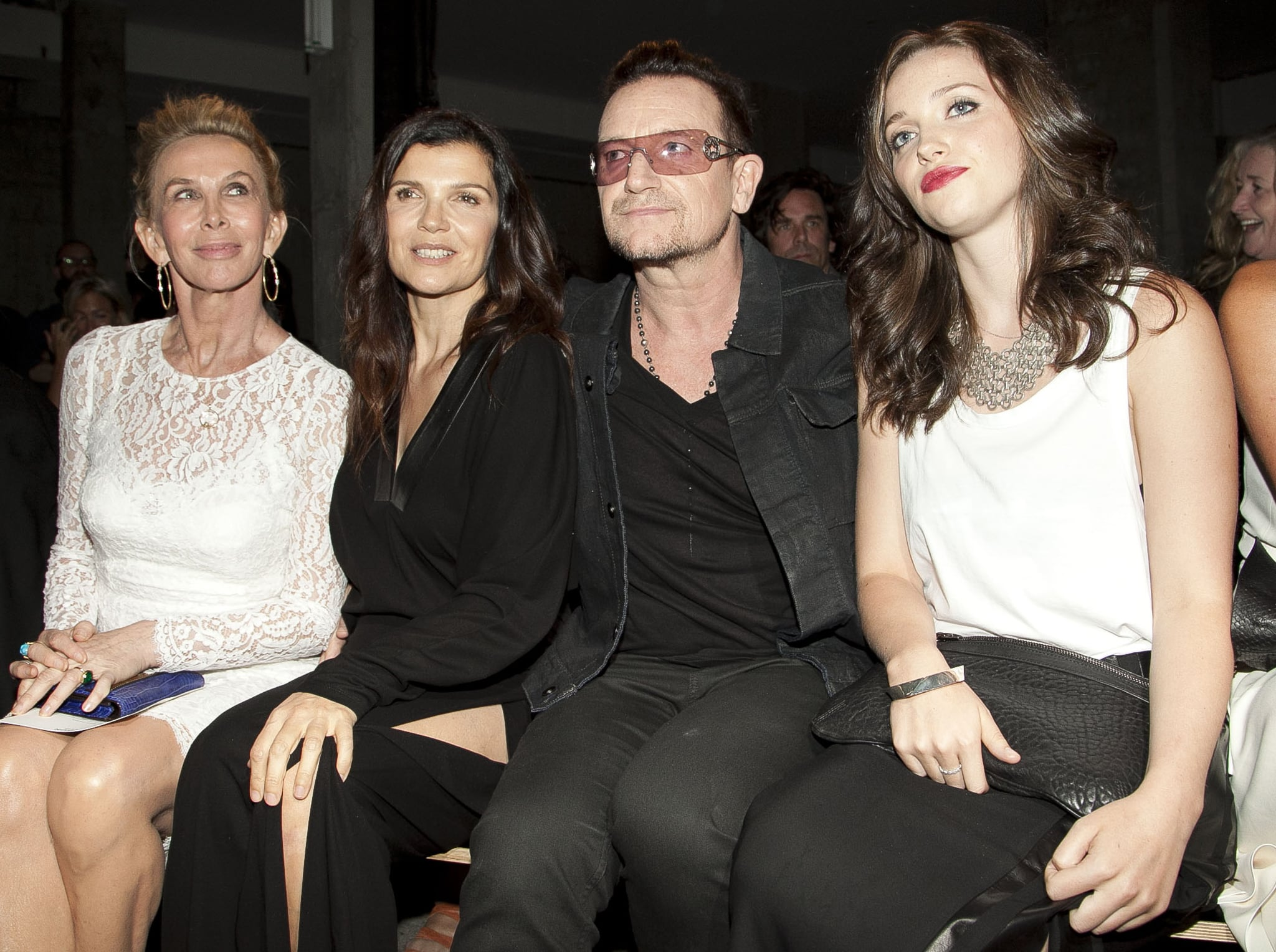 Bono was joined by his wife Alison Hewson, daughter, Eve, and friend Trudie Styler for the Edun show on Sunday.