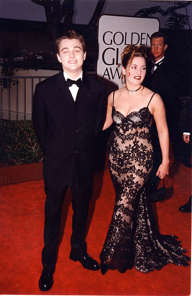 Kate Winslet chose a fitted lacy gown to attend the Golden Globes with Leonardo DiCaprio in 1998.