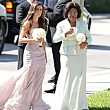 Michael Jordan's mom, Deloris, walked into the church with a bridesmaid.