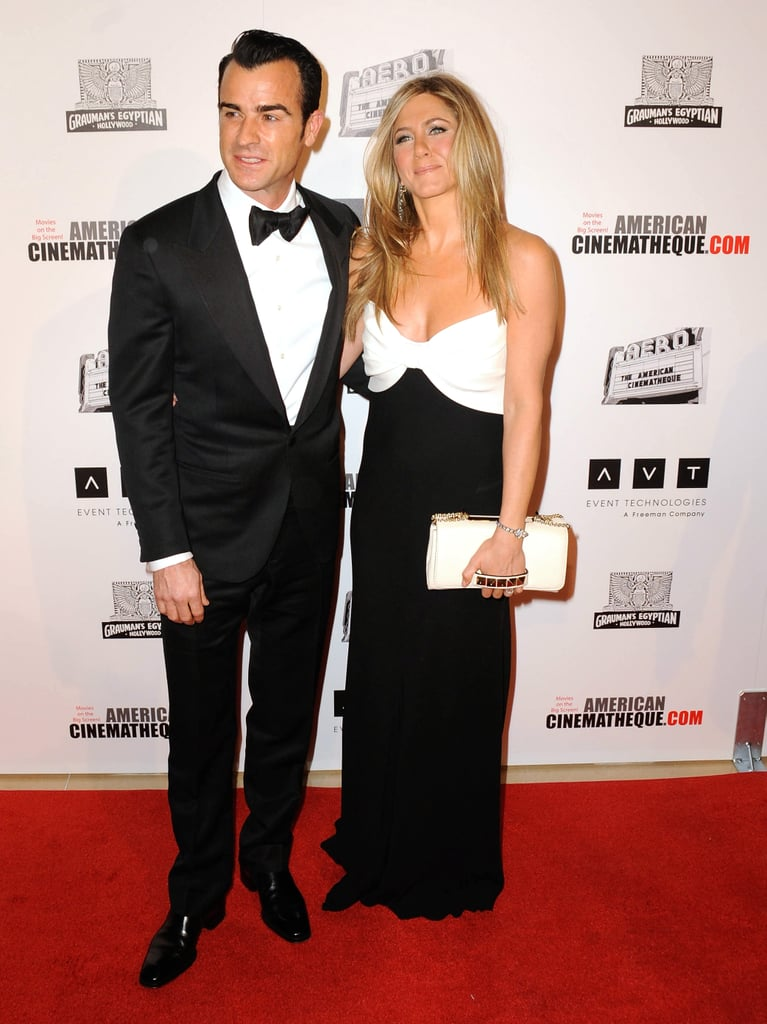 Jennifer Aniston wore a black and white Valentino gown for the event in LA.