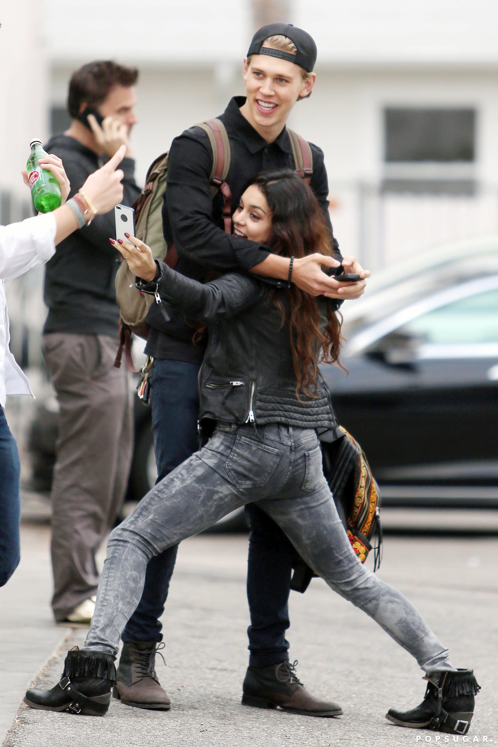 In December 2013, Vanessa Hudgens got silly while taking a selfie with boyfriend Austin Butler in Venice Beach, CA.