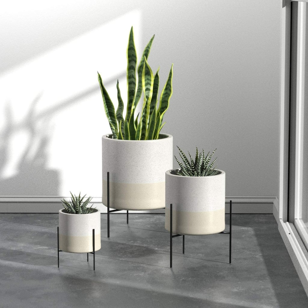 Rivet Midcentury Ceramic Planter With Stand