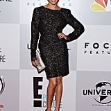 For the 2013 Golden Globes afterparty, Meghan wore a long-sleeved, shimmery black dress.