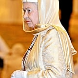 Queen Elizabeth II visits the Sheikh Zayed Grand Mosque in Abu Dhabi in 2010.