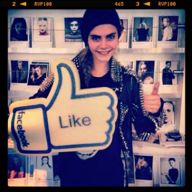 """Like"" if you love Cara! Source: Instagram user caradelevingne"