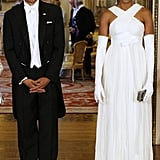 Barack were all smiles with a glamorous Michelle by his side.