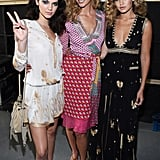Gigi posed backstage with Kendall Jenner and Karlie Kloss, who opened the DVF show in her splashy wrapdress.