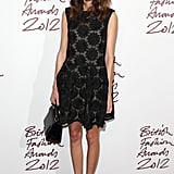 Alexa contrasted a lace dress with some funky boots at the British Fashion Awards in November 2012.