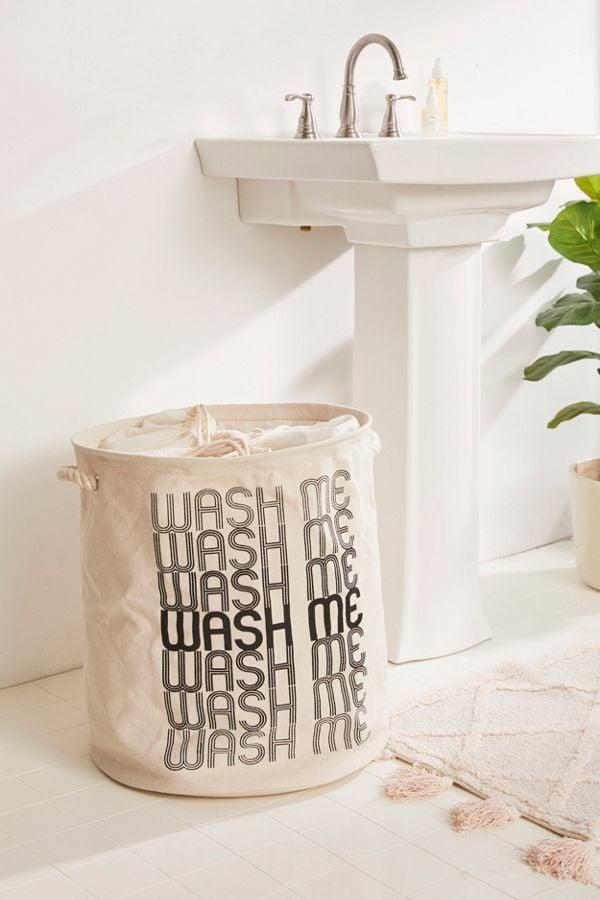 Wash Me Printed Canvas Laundry Bag