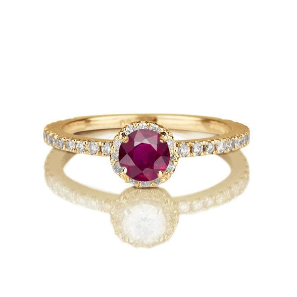 If your birthstone is a ruby, make it the center of attention with a colored gemstone engagement ring ($567).