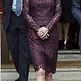 In 2015, Kate wore her first Dolce & Gabbana, kicking things off in style with eggplant-colored lace for an event honoring the Chinese state visit.