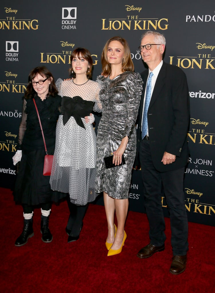 Pictured: Mary Jo Deschanel, Zooey Deschanel, Emily Deschanel, and Caleb Deschanel at The Lion King premiere in Hollywood.