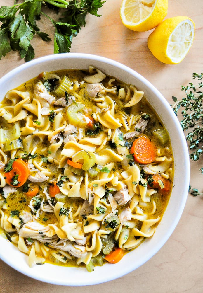 Serve the chicken noodle soup and enjoy.