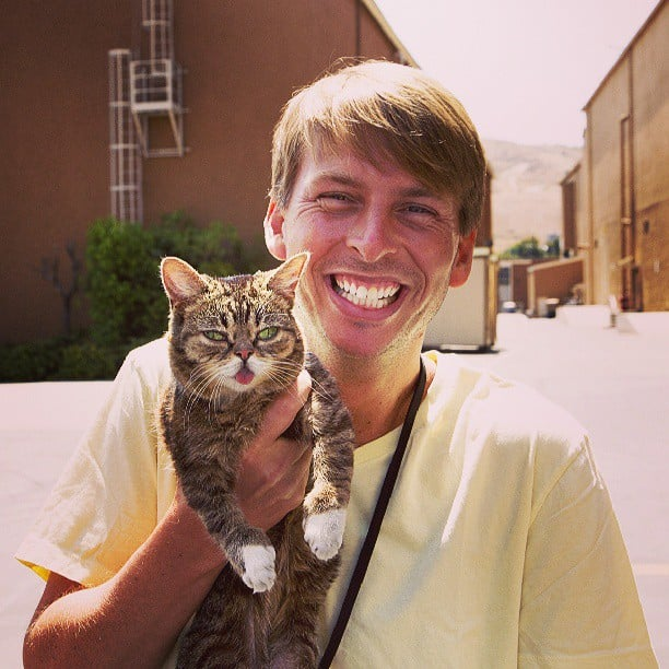 Lil Bub shared a sweet moment with Jack McBrayer. Source: Instagram user iamlilbub