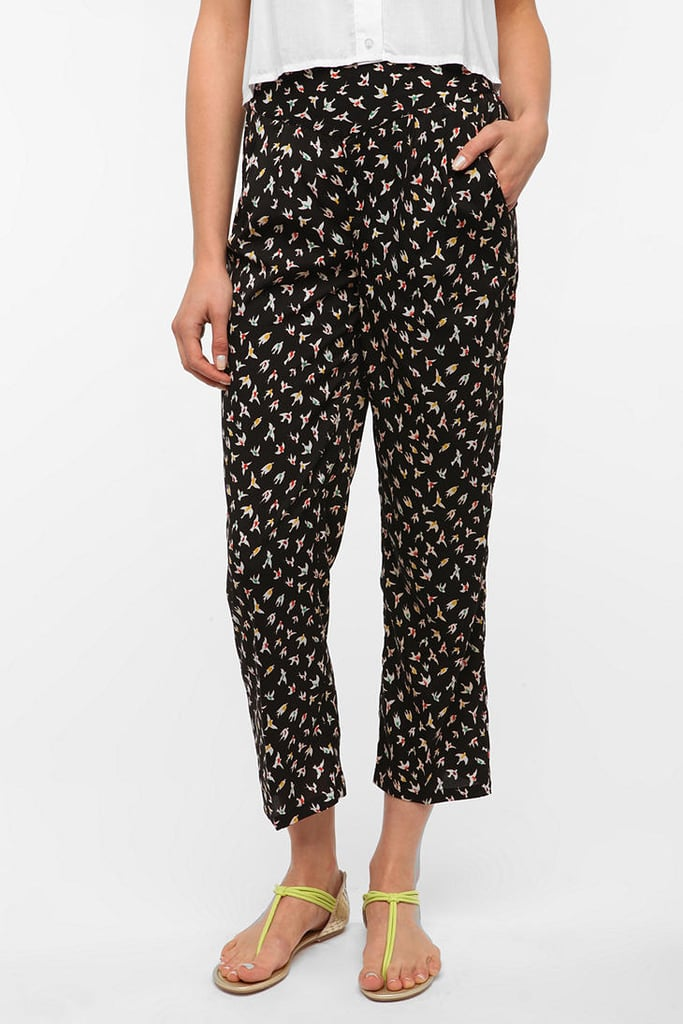 These aviary-themed pants are sweet, playful, and kind of take the cake in terms of girlie weekender must haves. Cooperative Silky Pleated Front Pant ($49)