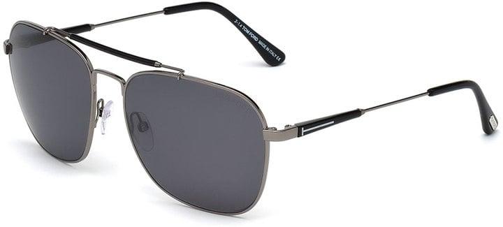 Tom Ford Edward Polarized Square Aviator Sunglasses, Black/Gunmetal ($430)