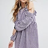 Milk It Vintage Cold Shoulder Dress In Gingham