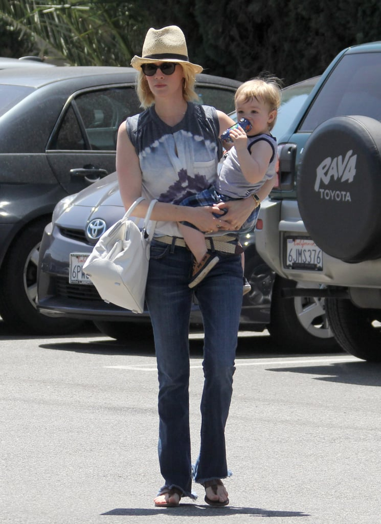 January Jones and Xander Jones stopped for gelato in LA on Saturday.