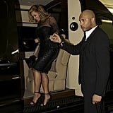 Beyonce Knowles in her van.