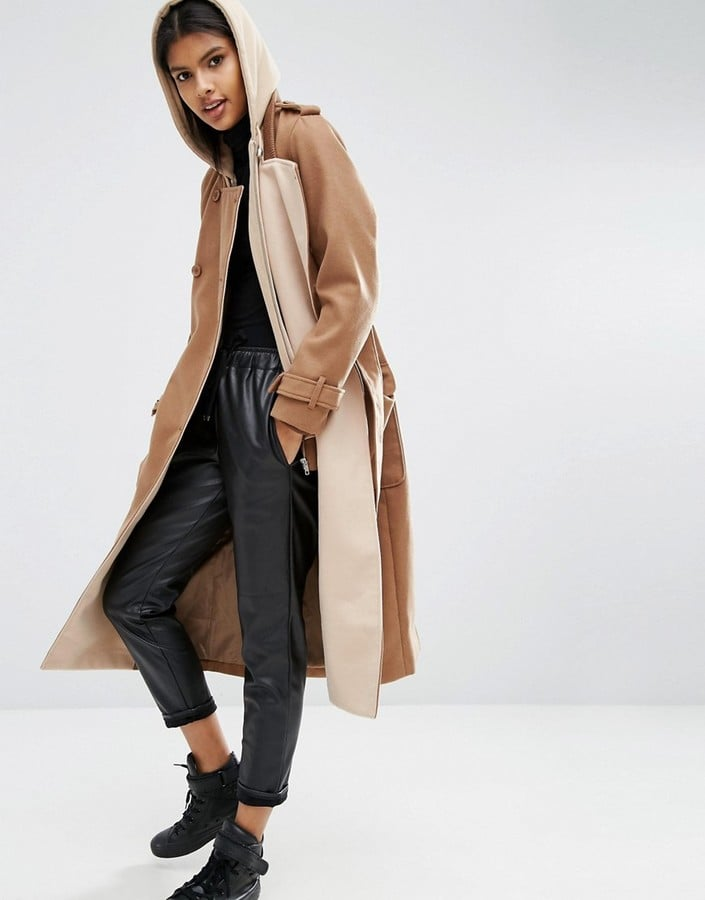 Asos Wool Blend Coat With Contrast Jersey Liner