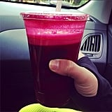 Lea Michele knows there's nothing like a large cup of fresh-pressed juice to keep you going.