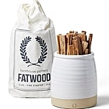Farmhouse Pottery Beehive Fatwood Crock and Fatwood Bag