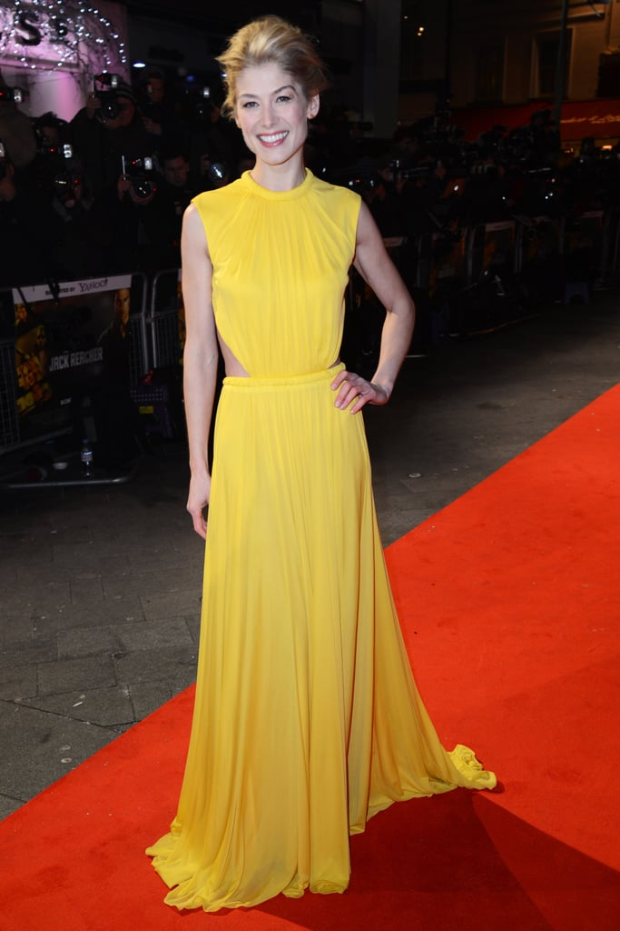 Rosamund Pike wore yellow to the London premiere of Jack Reacher.