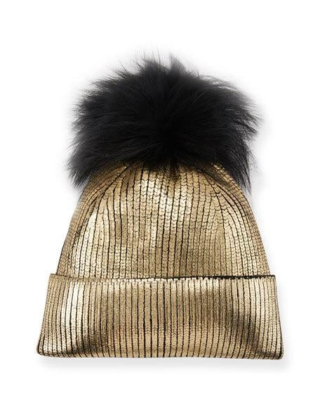 Jocelyn Metallic Fur-Pompom Beanie Hat