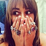 She showed off loads of Lorraine Schwartz jewels during a visit from her stylist.
