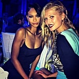 Chanel Iman and Toni Garrn struck a sultry pose together during an NYFW party. Source: Instagram user chaneliman
