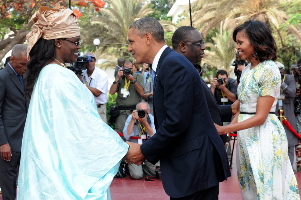 In June 2013, President Obama and First Lady Michelle were greeted by Senegal's President Macky Sall and his wife, Marieme Faye, at the presidential palace in Dakar.