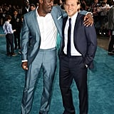 With Charlie Hunnam, who is six feet tall.