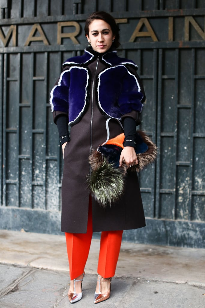 Fur accents played perfectly off of each other in this bright ensemble.