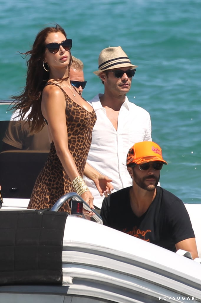 Ryan Seacrest and Dominique Piek arrived at Le Club 55 by boat.