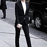 No one rocks a pantsuit quite like Emma. She wore this Saint Laurent iteration to the Late Show With David Letterman in 2014.