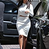 Kim Kardashian stopped by the Peninsula hotel in Beverly Hills, CA, on Monday.