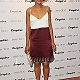 Kerry Washington worked an embellished two-tone mini-dress with neutral Jimmy Choo accessories at a Jimmy Choo and Esquire party in London.