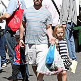 Jason Priestley took his kids Dashiell and Ava to the farmers market in LA on Sunday.