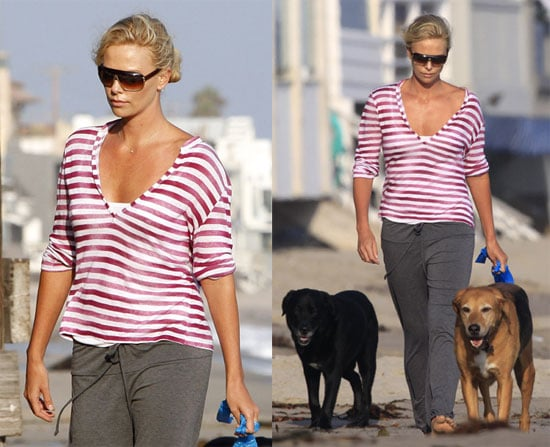Photos of Charlize Theron Walking her Dogs