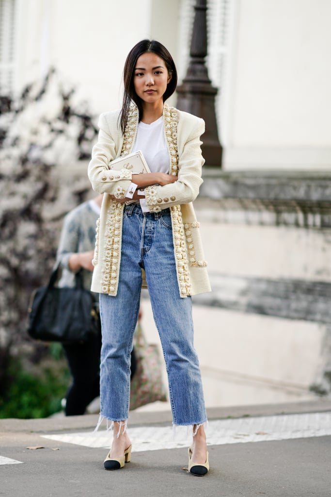 With a chic jacket and heels to dress them up