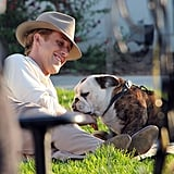 Ryan Gosling got some love from a puppy on The Gangster Squad set.