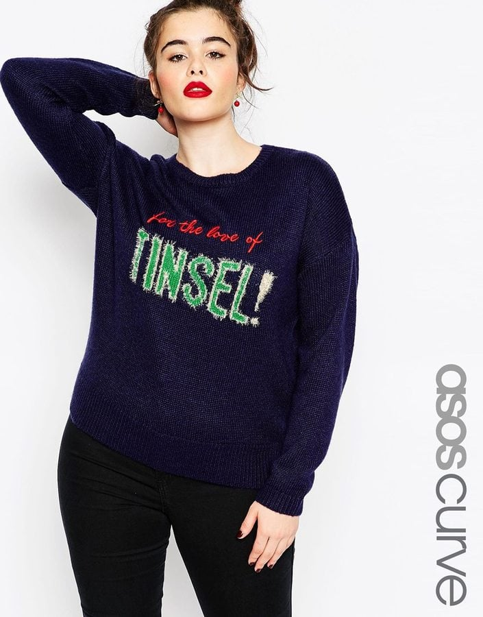 "Asos Curve Christmas ""For The Love of Tinsel"" Jumper (£32) 