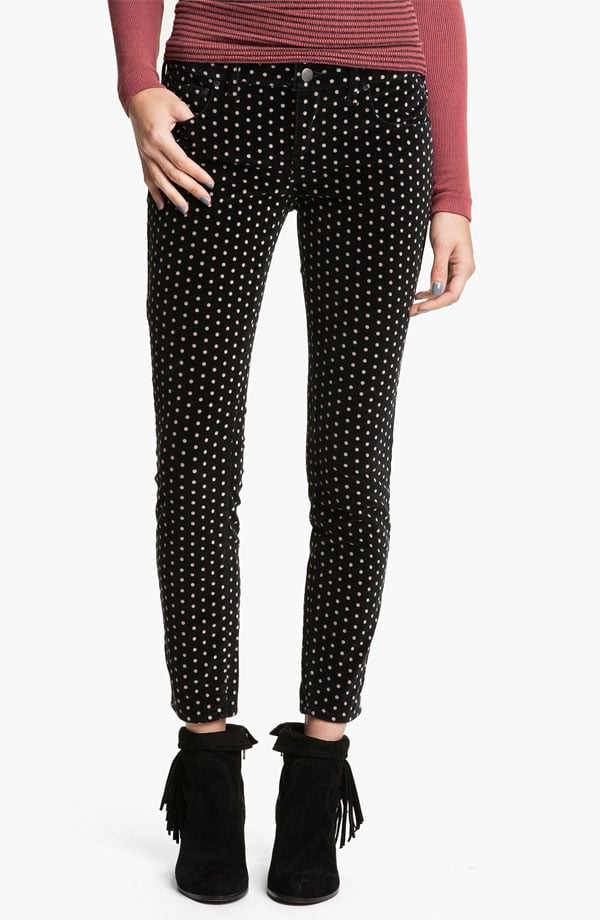These Free People Polka Dot Skinny Velvet Pants ($98) will keep your legs warmer than jeans, and how cute is the polka-dot print?