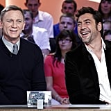 Daniel Craig and Javier Bardem laughed at an event for Skyfall in Paris.